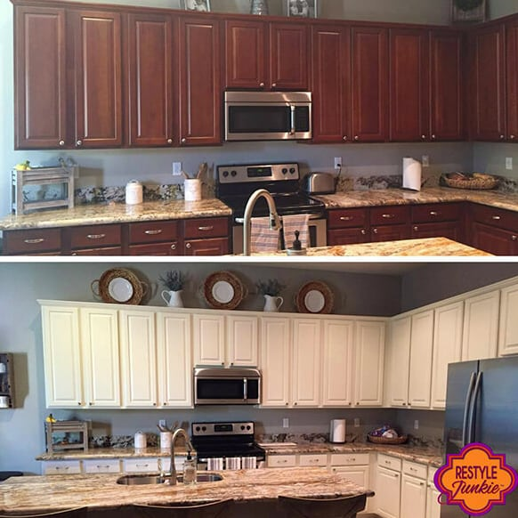 Before and after antique white milk paint
