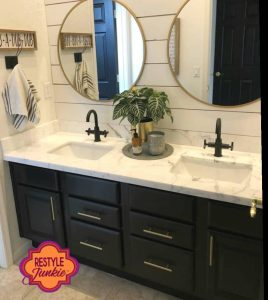 Refinished Bathroom Cabinets with Round Mirros