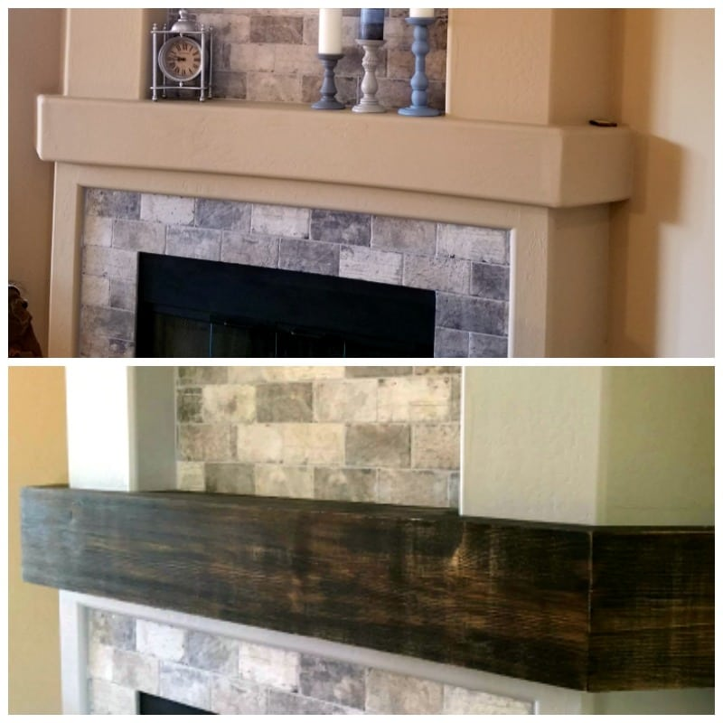 Distressed wood before and after