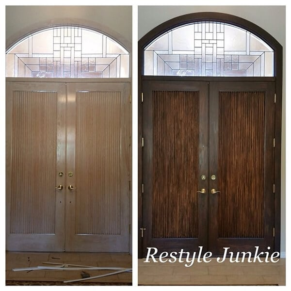Before and after door refinishing