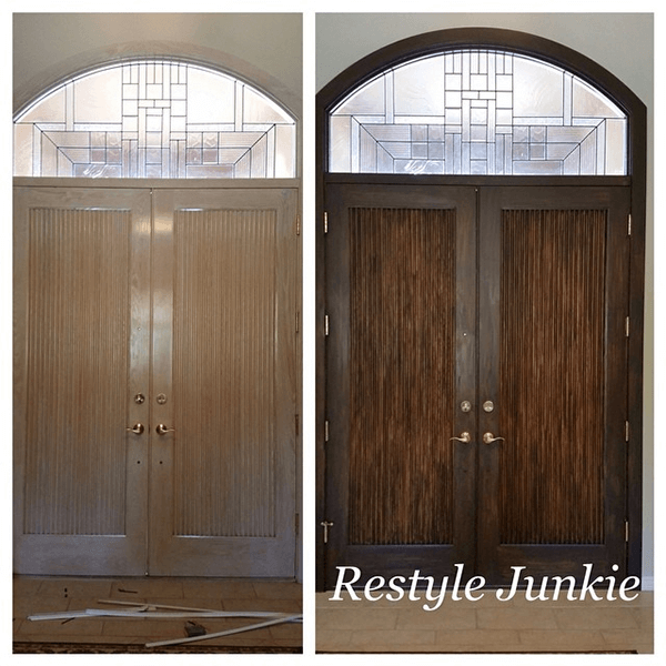 Antique Walnut Gel Stain Restyle on Front Door