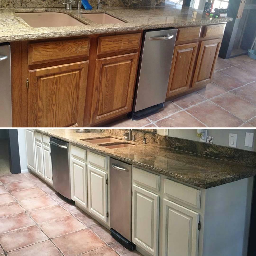 honey-oak-to-white-kitchen-cabinets - Restyle Junkie
