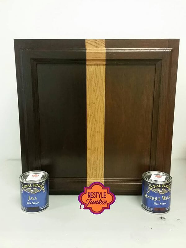 The difference between Java Gel vs Antique Walnut Gel Stain on honey oak cabinets