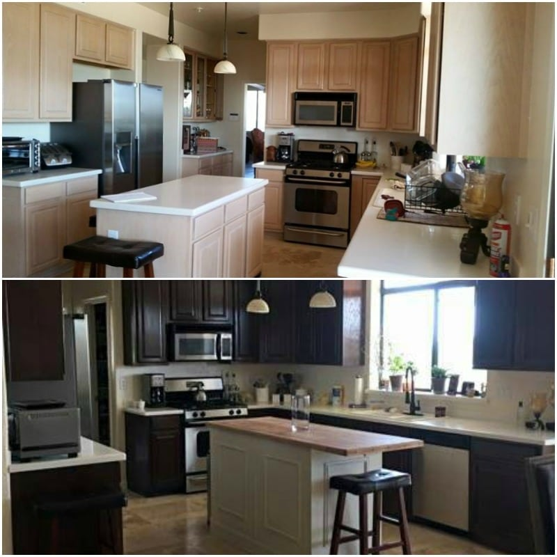 Antique Walnut Gel Stain Kitchen Before & After