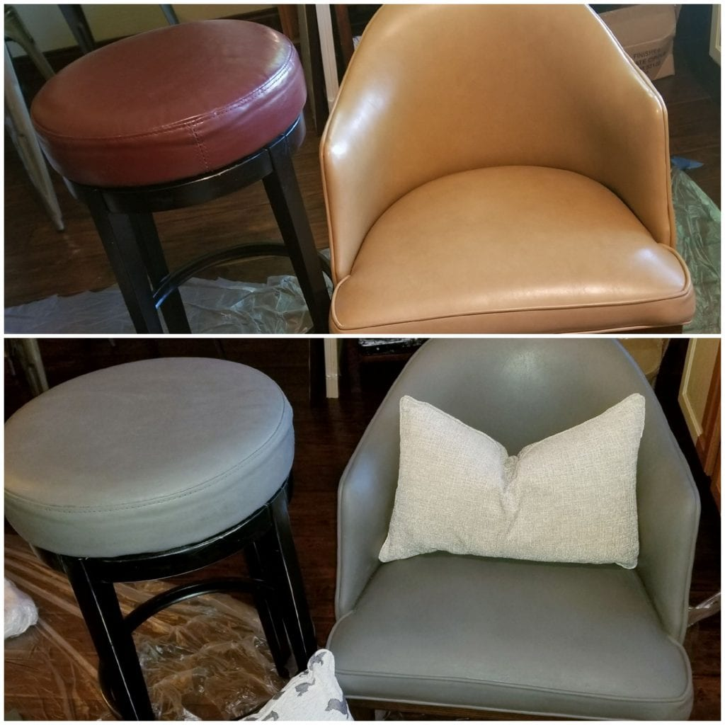 Leather and Vinyl Refinishing Before and After done with Rub N Restore