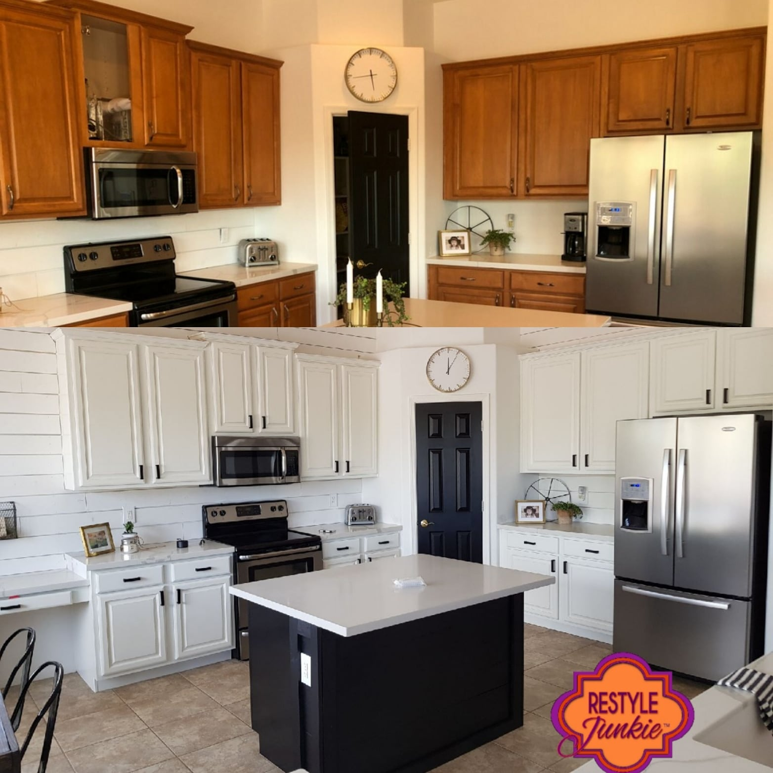 White kitchen cabinets before and after picture.