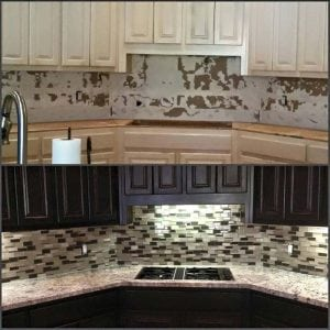 General Finished Dark Chocolate Milk Paint on Kitchen Cabinets