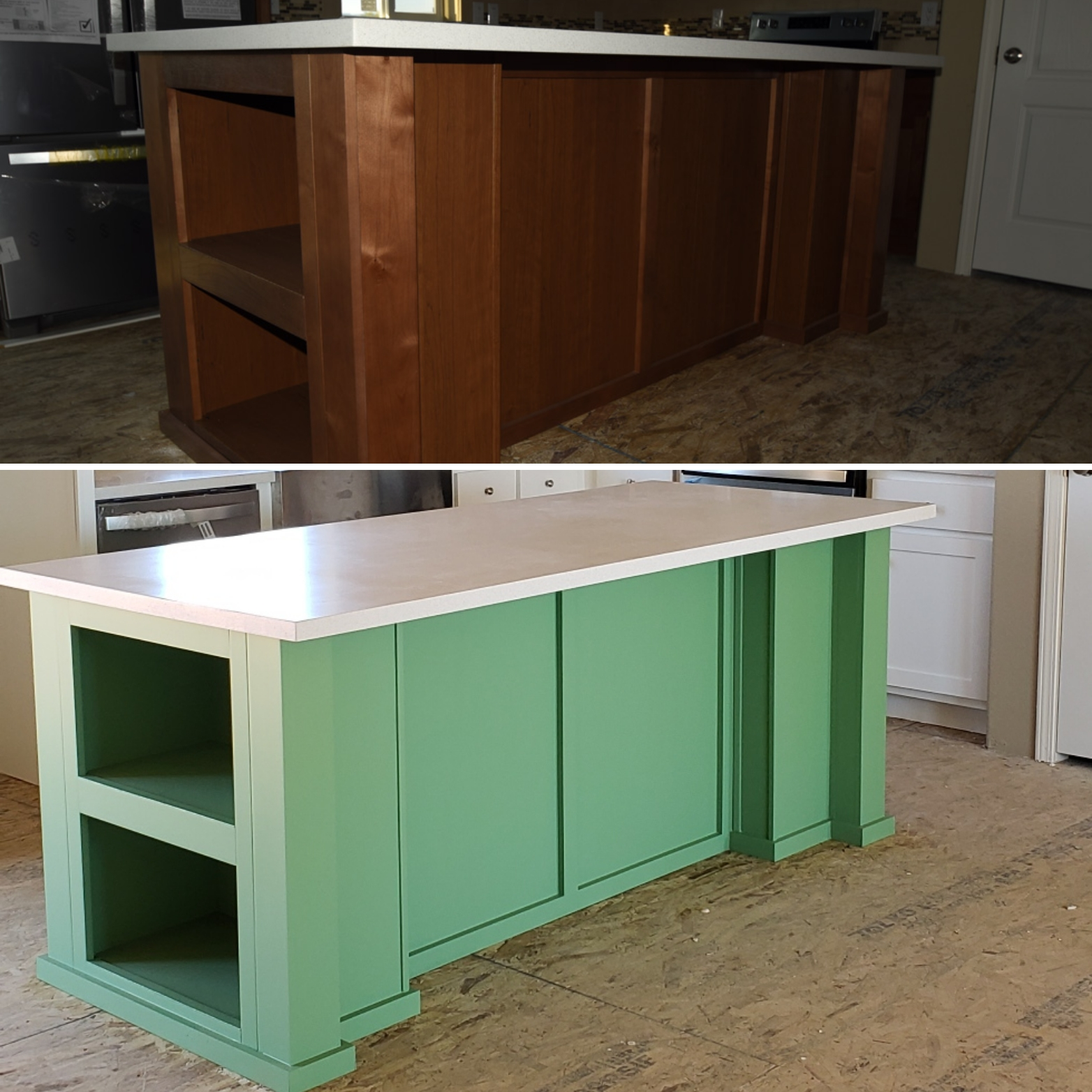 Mint Painted Kitchen Island