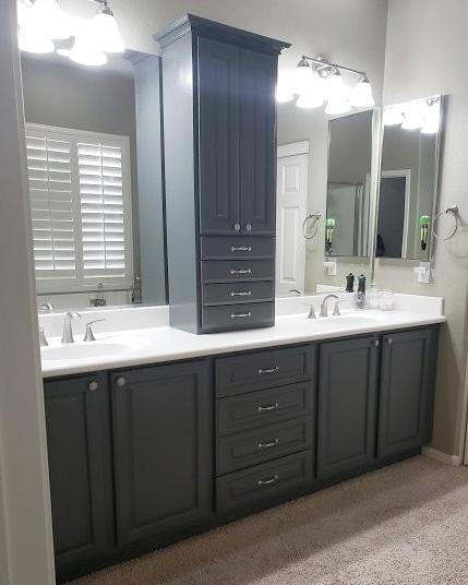 Grey painted bathroom