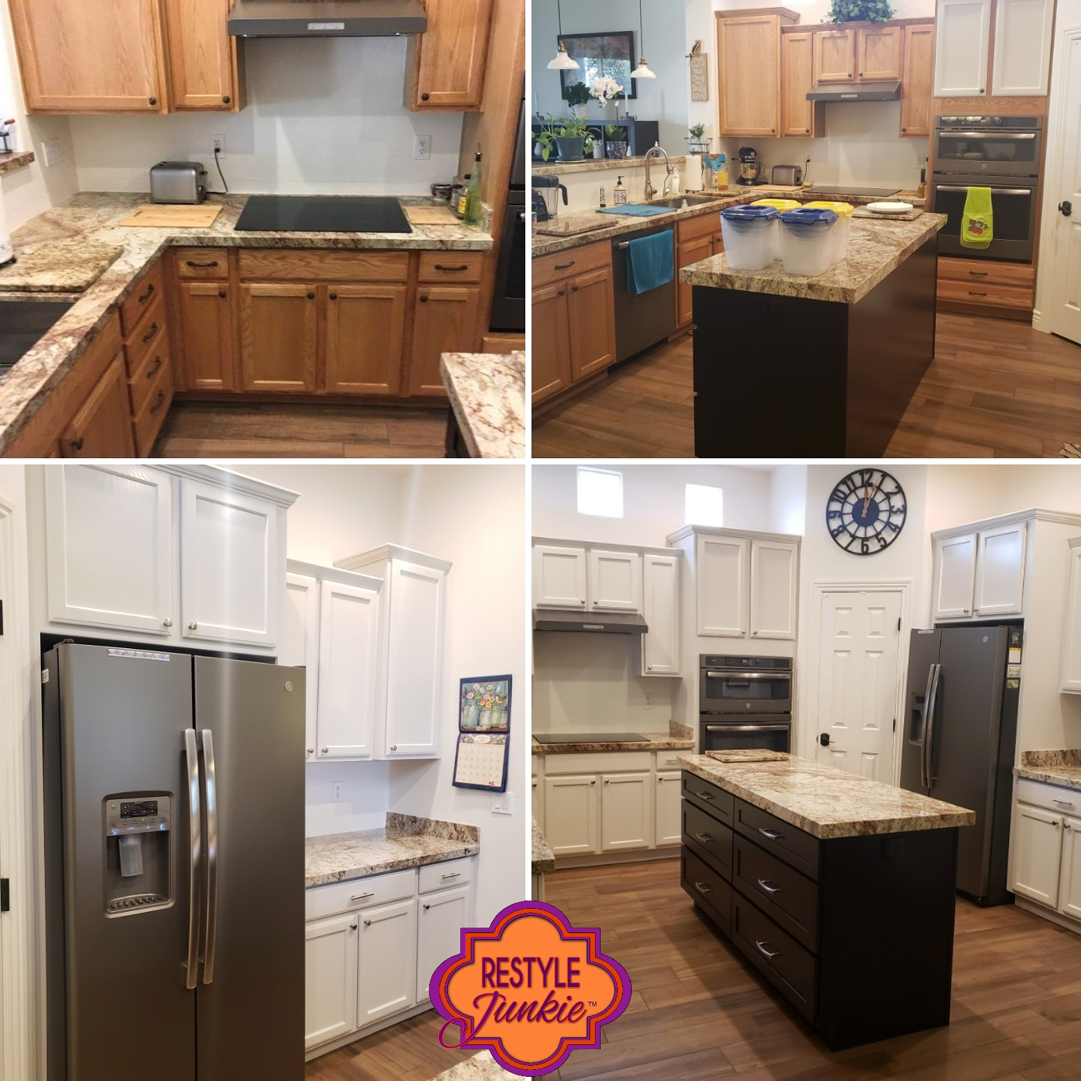 Painted Honey Oak Kitchen Cabinets