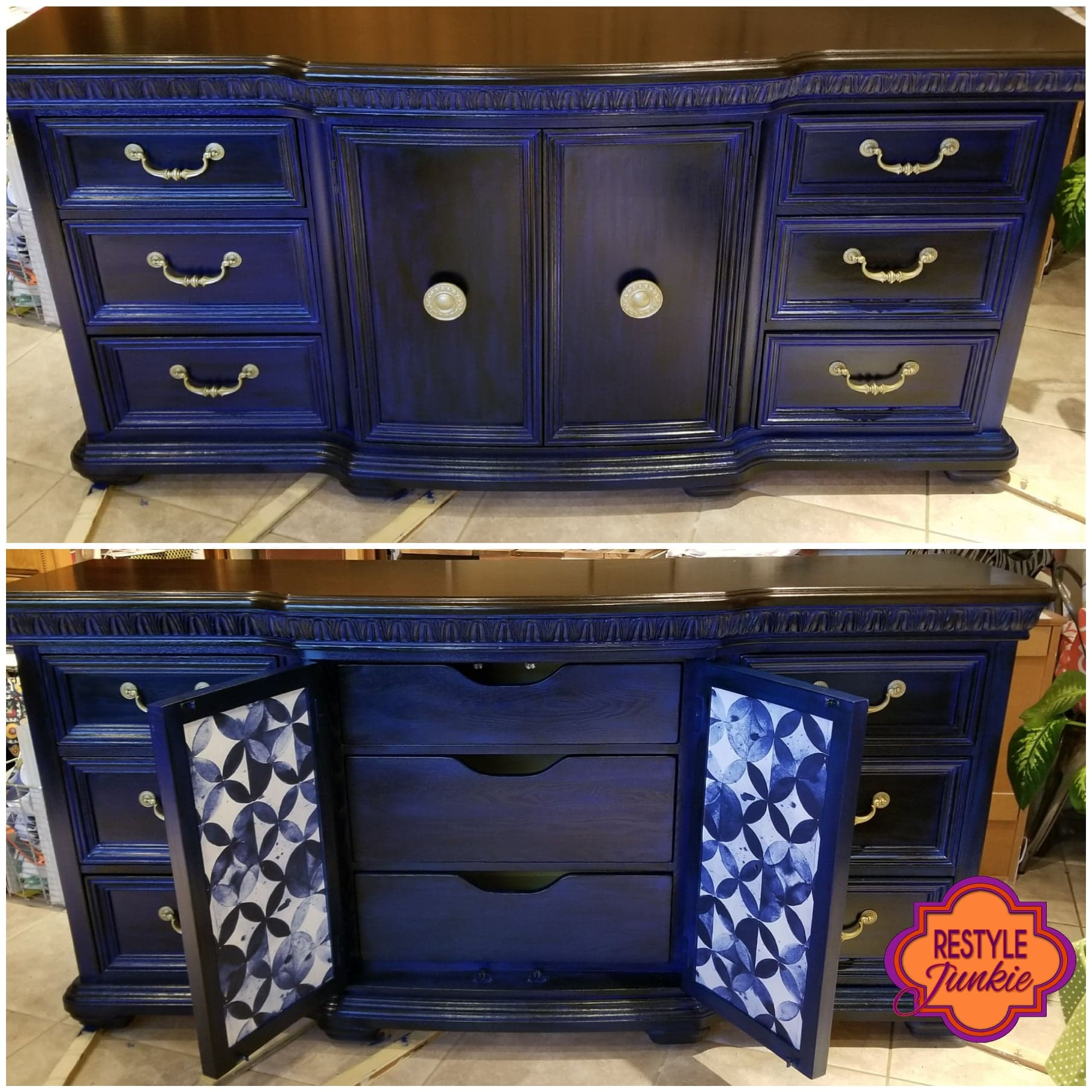 Painted dresser in blue with peel and stick wallpaper