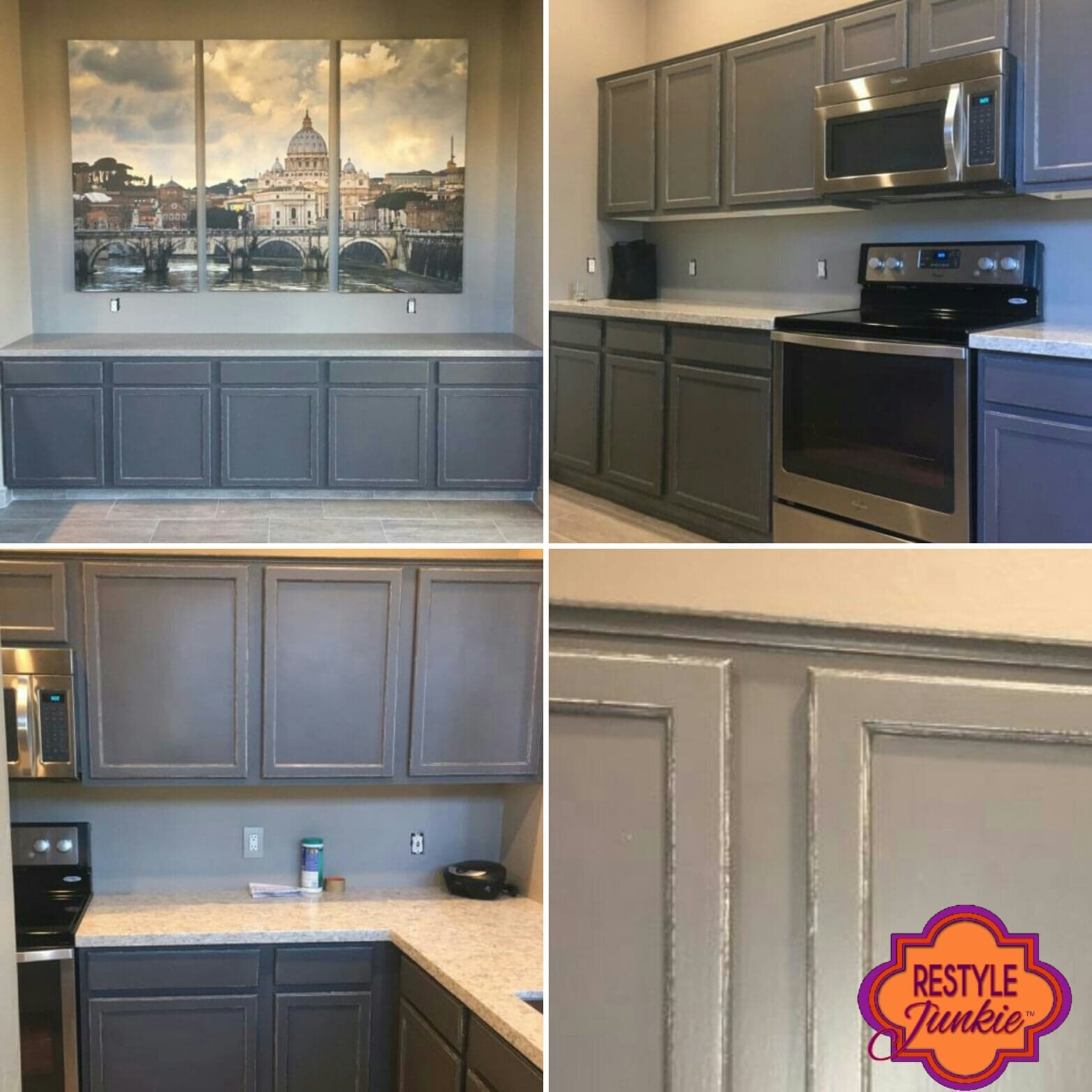 Lightly distressed painted grey kitchen cabinets