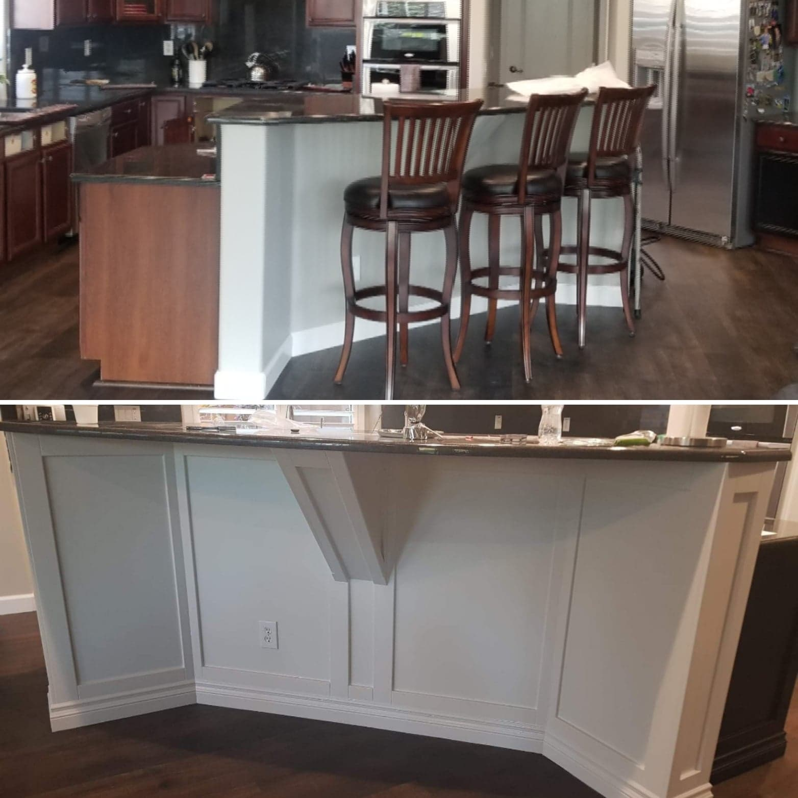 Before and after photo of kitchen island trim work