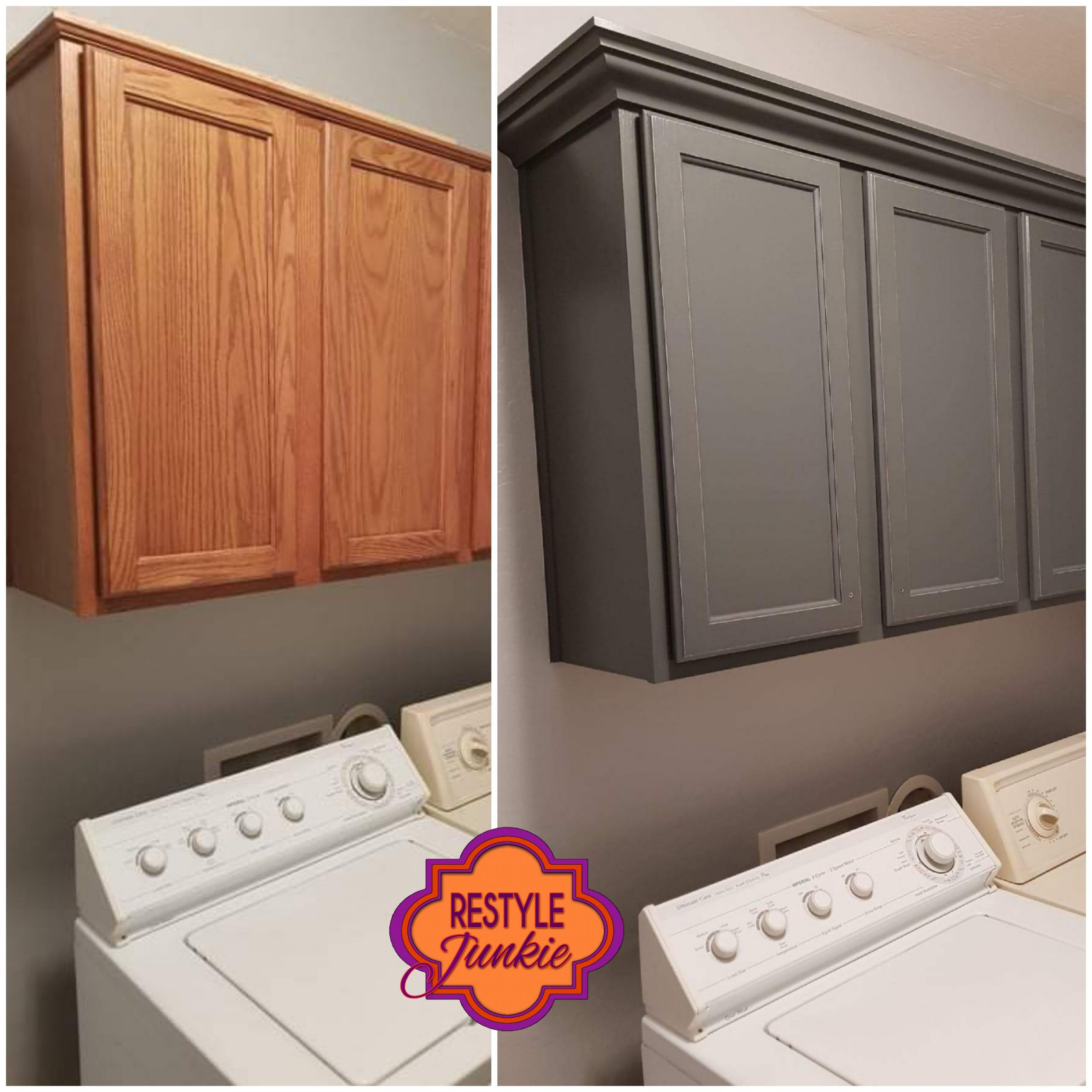 Crown molding on laundry room cabinets