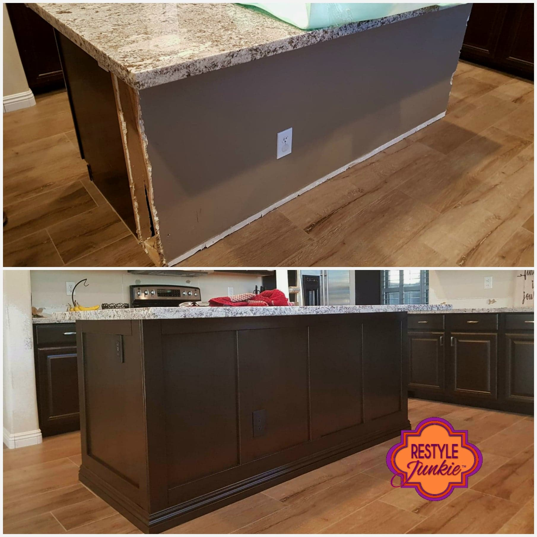 Trim work on a drywall area of a kitchen island