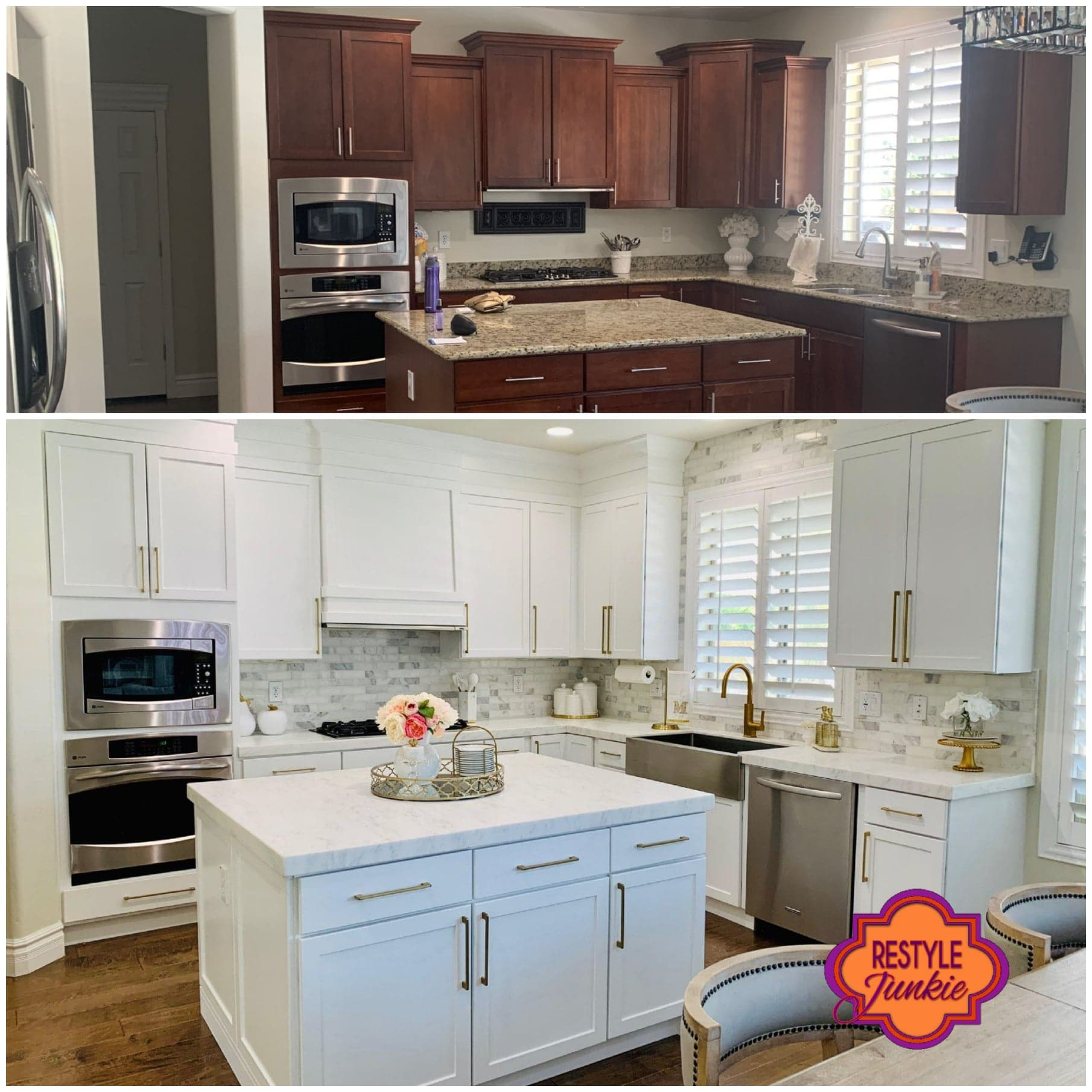 Dark to white kitchen cabinets