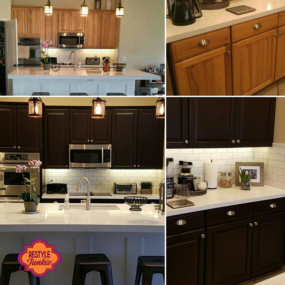 Restyle Junkie Before-and-After-Kitchen Transformation-Honey Oak to Espresso Brown