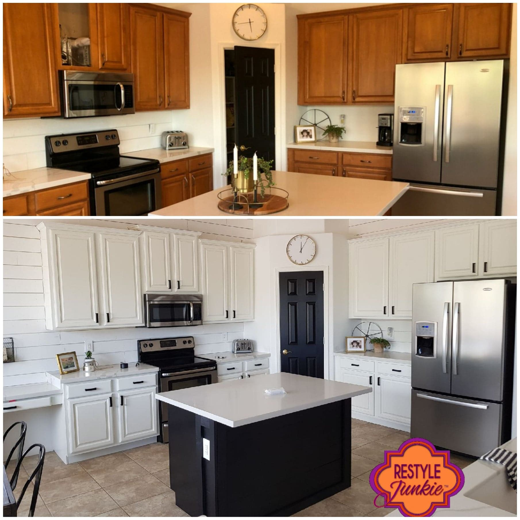 Honey Oak Cabinets Refinished by Restyle Junkie