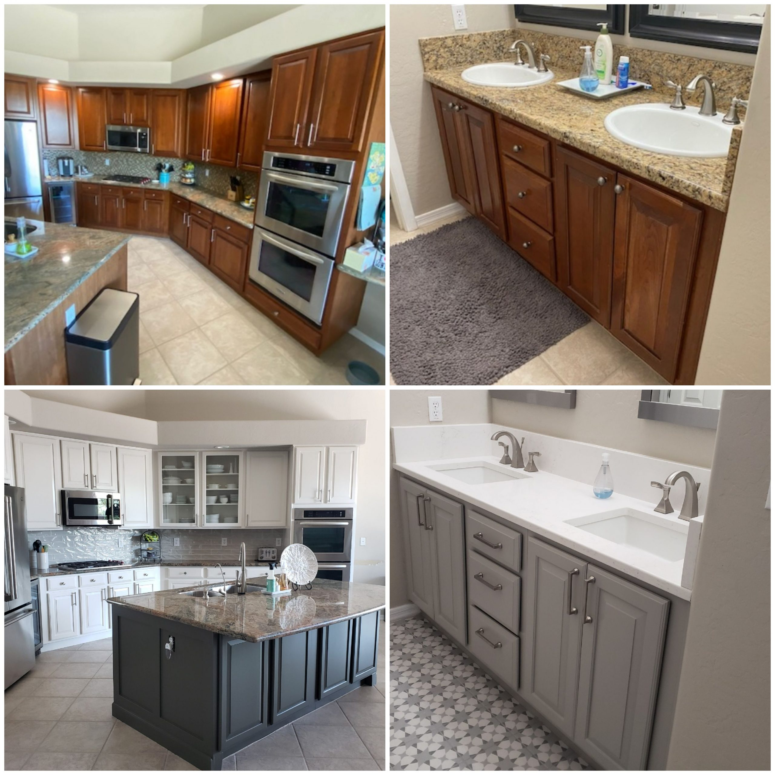 Grey and White Kitchen and Bathroom Refinished Cabinets